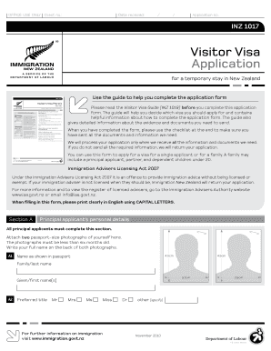 new zealand residence application form