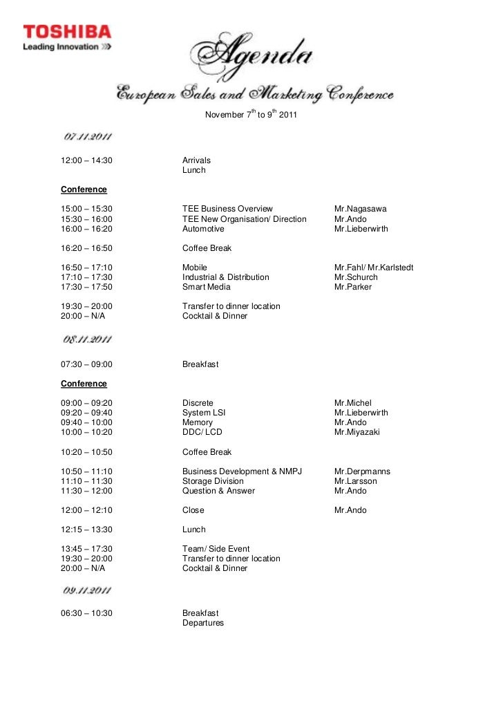 sample of agenda about trip